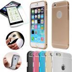 Alu Bumper 2 teilig Gold + 0, 3 mm H9 Panzerglas für Apple iPhone 6 4.7 Tasche