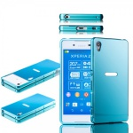 Alu Bumper 2 teilig Abdeckung Blau für Sony Xperia Z3 Plus E6553 Dual Tasche Neu