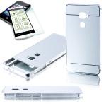 Alu Bumper 2 teilig Silber + 0, 3 mm H9 Panzerglas für Huawei Mate S 5.5 Tasche