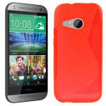 Silikonhülle Design S-Line Rot Hülle Case Cover für HTC One Mini 2 M5 2014 Neu