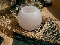 weiße SalzlampeTeelichthalter rund