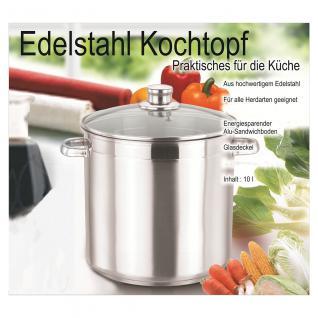 Universaltopf, Kochtopf Edelstahl mit Glasdeckel, Edelstahltopf 10 Liter