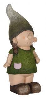 Niedliche Dekofigur Mädchen stehend mit Zipfelmütze, Gartendeko, Skulptur, Figur