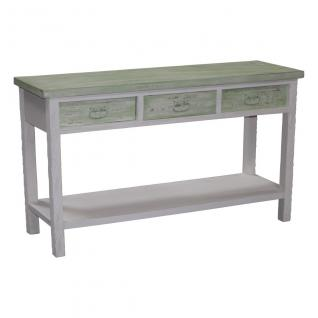 Holztisch mit 3 Schubladen, Konsolentisch, Landhaus, 120x39x80 cm, grün/weiß