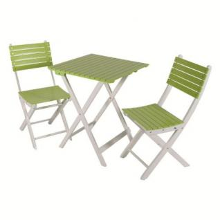 Balkonset Gartenmöbel Set 2 Stühle + 1 Tisch eckig Akazie grün-weiss