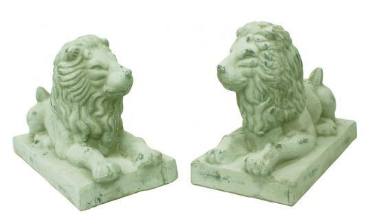 Schönes 2er Set liegende Löwen, Skulptur, Statue, Tierfigur, Ambiente, Deko