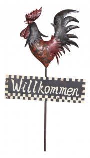 """Schöner Gartenstecker Hahn """" Willkommen"""", Dekostecker, Gartendeko, 142cm"""