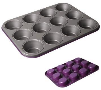 Muffinform für 12 Muffins, lila, Muffinbackblech, antihaftbeschichtet, 27 x 35 cm