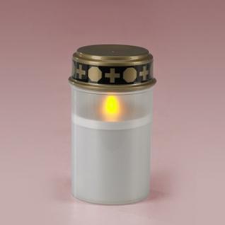 LED-Grablicht, weiß, Grabkerze, Ewiges Licht, mit Flackereffekt