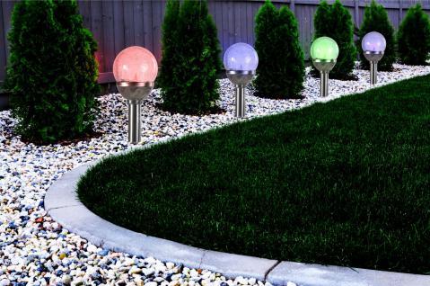 8erSet Premium Solarlampe Solarleuchte LED RGB Farbwechsel Edelstahl Gartenkugel