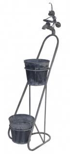 Schöne Deko-Pflanztreppe mit Deko-Wasserhahn, Pflanztopf, Blumentopf, Metall