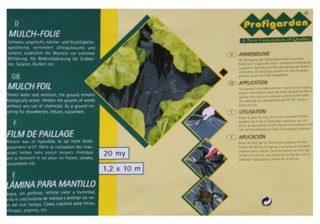 Mulchfolie, PE, 20µ, 1, 2x10 m, schwarz, Unkrautfolie, Pflanzenschutz, Schutzfolie