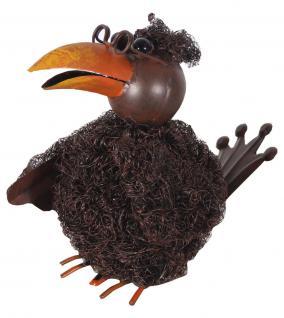 Dekofigur Vogel mit Brille, Metall, Stahlwolle, Tierfigur, Dekoration, Gartendeko