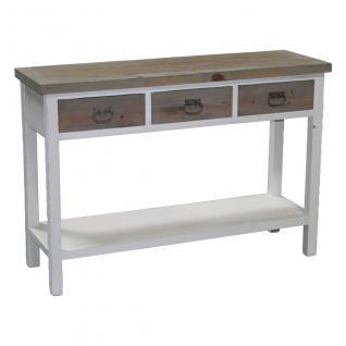 Holztisch mit 3 Schubladen, Konsolentisch, Landhaus, 120x39x80 cm, grau/weiß