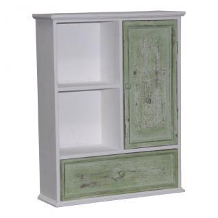 Holz-Hängeschrank, Deko-Schrank, 1 Tür, 1 Schublade, 46x15x58 cm, weiß/grün