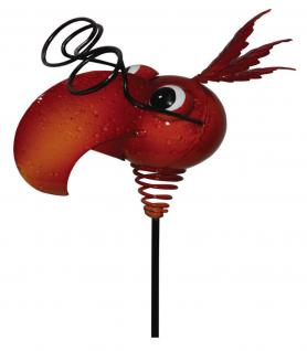 Lustiger Gartenstecker Vogelkopf, rot, Metall, Gartendeko, Deko Figur, 79 cm