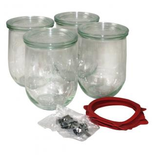Einkochglas Weck Tulpenform Einmachglas Rundrandglas 4 Stück á 1 Liter