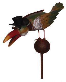 Gartenstecker Vogel auf Kugel mit Zylinder, Wackelkopf, Gartendeko, 134 cm