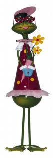 Tolle Dekofigur Frosch mit Blumen, Gartendekoration, Tierfigur, Gartendeko