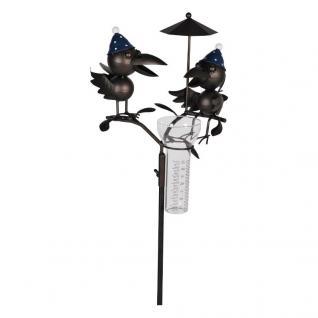 Niedlicher Gartenstecker Vogelpärchen, Regenmesser, Gartendekoration, Metall