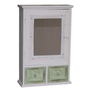Holz-Hängeschrank, 2 Schubladen, 1 Tür mit Spiegel, Deko, 34x14x60 cm, weiß/grün
