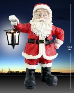 Weihnachtsmann mit LED Solar Laterne, Dekofigur Weihnachtsmann, Weihnachtsdeko