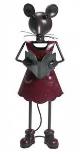 Dekofigur Gartendeko Maus als Frau lesend, ca. 61, 5 cm aus lackiertem Metall