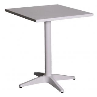 Bistrotisch Gartentisch Balkontisch aus Aluminium Alutisch matt-weiss 60x55cm