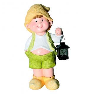 Niedliche Dekofigur Junge mit Laterne, Gartendekoration Figur, Skulptur Magnesia