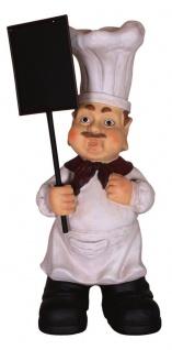 Dekofigur Chefkoch mit Tafel für Innen und Außen Gastro 60 cm Küchendeko