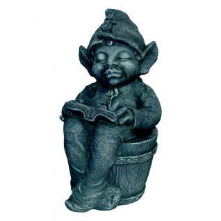 Niedliche Dekofigur Zwerg lesend Gartenfigur Gartenambiente Magnesia