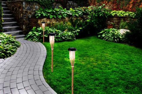 3er Set Bambus LED Solarlampe Wegeleuchte Gartenleuchte Gartenfackel Solar