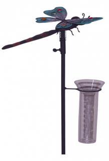 Gartenstecker Libelle mit Kunststoff-Regenmesser, Metall, Gartendeko, 110, 5 cm