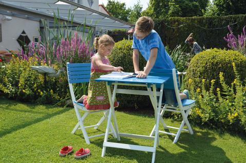 Balkonset Gartenmöbel Set 2 Stühle + 1 Tisch eckig Akazie blau/weiss