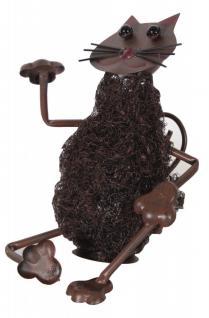 Dekofigur sitzende Katze, Metall, Stahlwolle, Tierfigur, Dekoration, Gartendeko