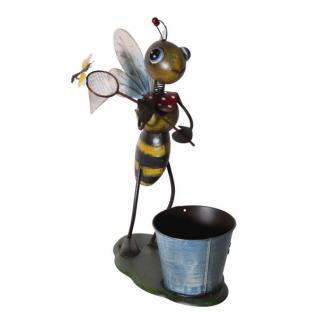 Dekofigur-Biene mit Kescher, Dekobiene mit Pflanztopf, Metall, 41 cm