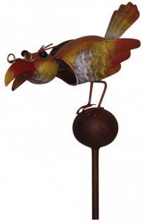 Gartenstecker Vogel auf Kugel mit Brille, Wackelkopf, Gartendeko, 130 cm