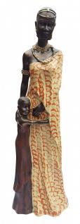 Dekofigur stolze afrikanische Frau mit Kind, Massai, Statue, Skulptur, Afrika