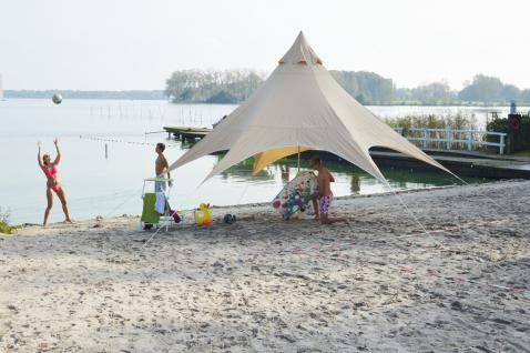 Strandzelt 3, 5 x 3, 5 x 3, 5 x 4(H)m beige Partyzelt Sonnensegel Pavillon Tarp
