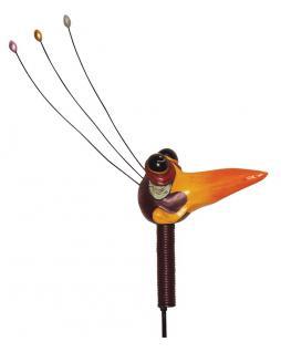 Lustiger Gartenstecker Vogelkopf rot, Metall, Gartendeko, Deko Figur, 121 cm