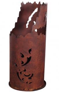 Feuersäule rund mit Bodenplatte, Edelrost, Gartenfeuer, Feuerstelle, 35x100 cm