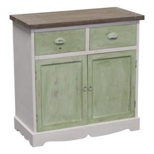 Holzschrank, Deko-Schrank mit Schubladen und Türen, grau/grün/weiß, 78x38x77 cm