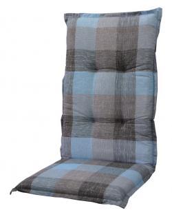 Sesselauflage 105x50x6cm, grau/blau kariert, Gartenstuhlauflage, Sitzpolster