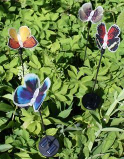 4er Set Solar LED Spieß Schmetterling mit RGB Farbwechsel, Gartendeko, Solarstab