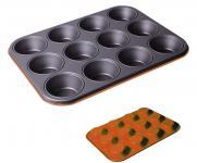 Muffinform für 12 Muffins, orange, Muffinbackblech, antihaftbeschichtet, 27 x 35 cm