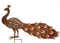Gartenstecker Pfau Metall Naturrost Gartendeko Tierfigur Paradiesvogel 58 cm NEU