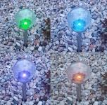 3er Set XL Premium Solarlampe, Leuchte, LED, RGB Farbwechsel, Edelstahl, Ø 11 cm