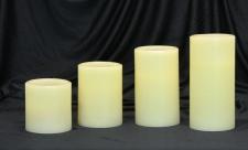 LED- Echtwachskerze elfenbein in versch. Größen, mit Luft-Sensor, LED-Kerze
