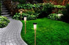 6er Set Bambus LED Solarlampe Wegeleuchte Gartenleuchte Gartenfackel Solar