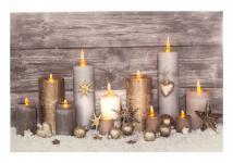 Leinwandbild mit LED-Beleuchtung Wandbild mit 11 Kerzen Leuchtbild LED Bild NEU